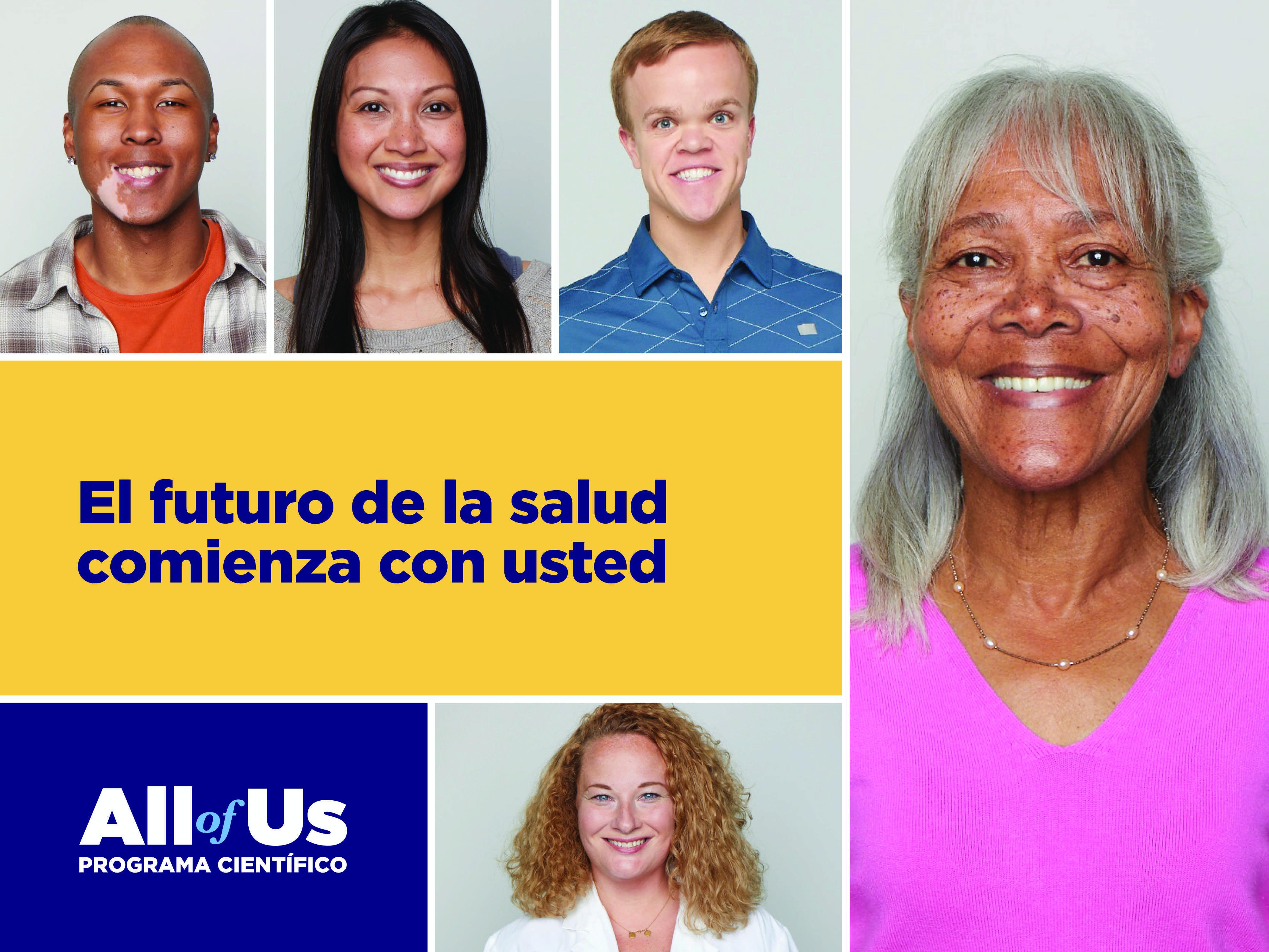 Imagen en mosaico con cinco imágenes de personas diversas, All of Us programa cientifico logo, el futuro de la salud comienza con usted
