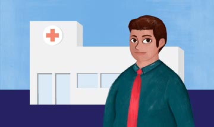 illustration of a white hospital with a red cross and light blue windows over a split light and dark blue background and male figure in front