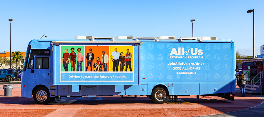 All of Us journey exhibit with All of Us logo, joinallofus.org URL, phone number(833) ALL-OF-US, and hashtag #JoinAllofUS