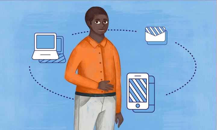 illustrations of a light blue laptop, an envelope, and a phone connected by a dotted circle with male figure in center.